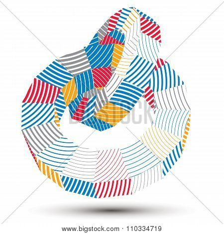 3D Modern Stylish Abstract Stripy Vector Construction, Origami Facet Object Constructed From Differe
