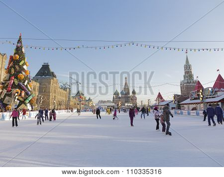 Great Christmas Ice Rink In Moscow