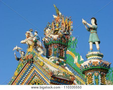 KUNARA, SVERDLOVSK REGION, RUSSIA - November 8, 2011: Photo of Decorative elements of the gable roof
