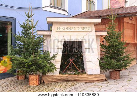Berchtesgaden, Germany, Bavaria 11.29.2015: Monument of the oldest active salt mine in Germany durin