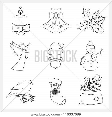 Set Christmas Thin Line Icons