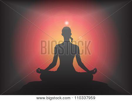 Yoga Lotus Pose Glare Background