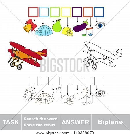 Vector game. Search the word. Find hidden word Biplane