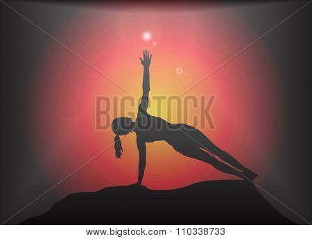 Yoga Side Plank Pose Glare Background