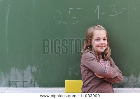 Happy School Girl On Math Classes