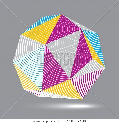 3D Vector Abstract Design Object, Polygonal Complicated Figure. Colorful Three-dimensional Deformed