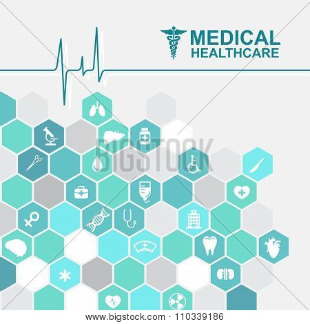 Medical health care - pulse wave and Hexagon icon About Doctors