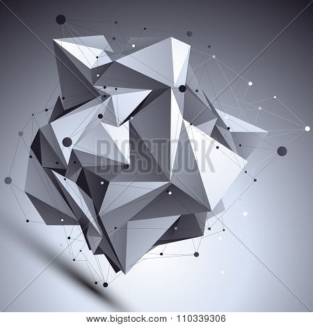 Geometric Vector Abstract 3D Complicated Lattice Backdrop, Asymmetric Eps8 Conceptual Tech Illustrat