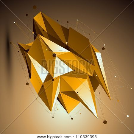 Gold Spatial Technological Shape, Polygonal Wireframe Object Placed Over Yellow Background.