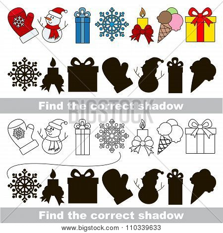 Christmas collection. Find correct shadow.