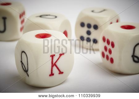 Dice Poker Game. Craps Detail In White Vignetting Background