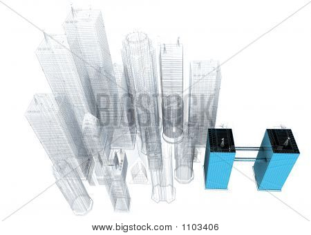 Three Dimensional Blue Print Of Corporate Buildings
