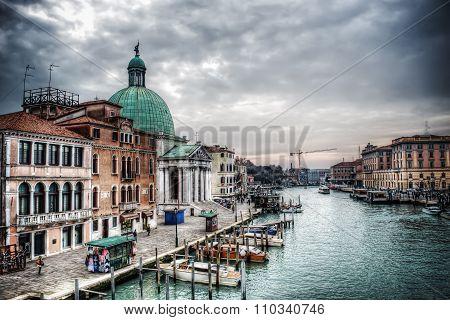 Venice Grand Canal With San Simeone Dome