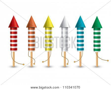 Set of isolated pyrotechnic rockets on white background. Collection from 6 different color rockets.
