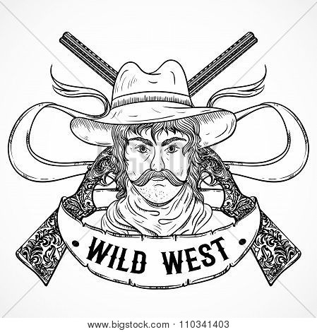 Wild west. Vintage poster with cowboy, retro shotgun and ribbon banner .Retro hand drawn vector illu