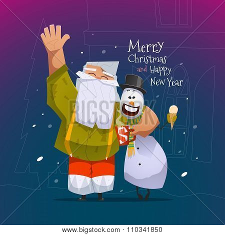 Merry Christmas and Happy New Year card with Santa Claus