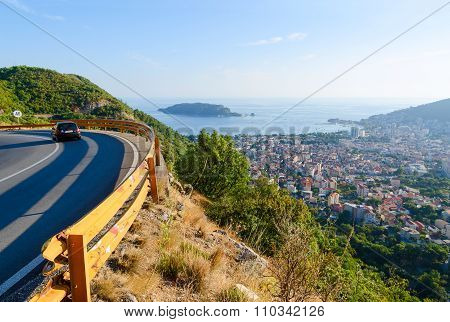 View Of The Mountain Road And On The Coast Of Budva, Montenegro