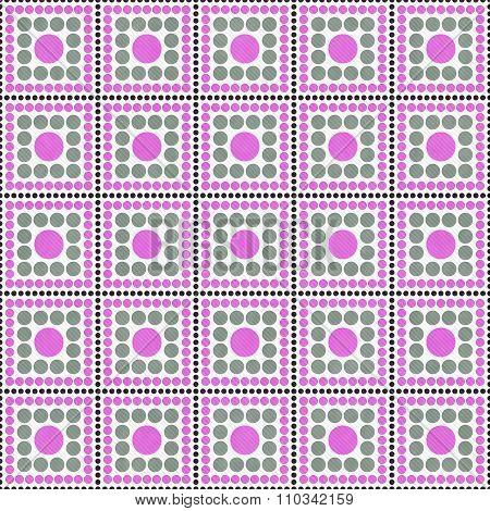 Pink, Gray And White Polka Dot Square Abstract Design Tile Pattern Repeat Background
