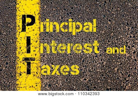 Accounting Business Acronym Pit Principal Interest And Taxes
