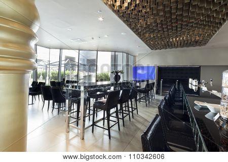 Restaurant Bar In Hotel Lobby Interior