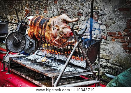 Pig Roasting On The Spit