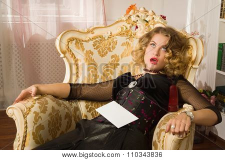 Lifeless Woman Lying In A Boudoir