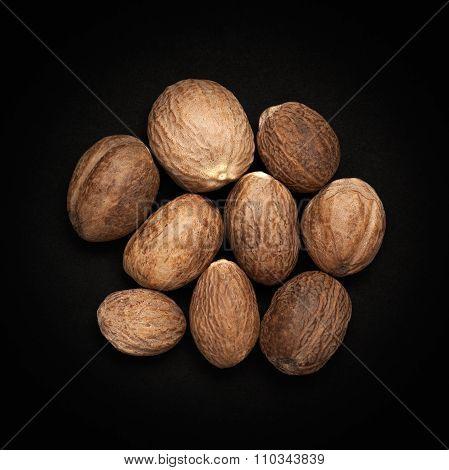 Top view of Organic Nutmeg Seed.
