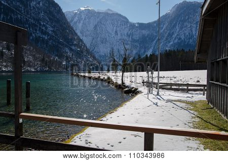 Königsee In Bavaria During Winter With Backlight
