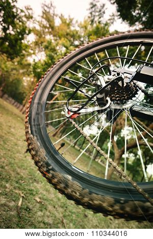Close up of a moving mountain bicycle rear wheel.