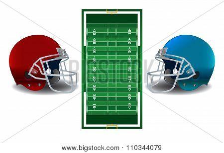 American Football Helmets And Field Illustration