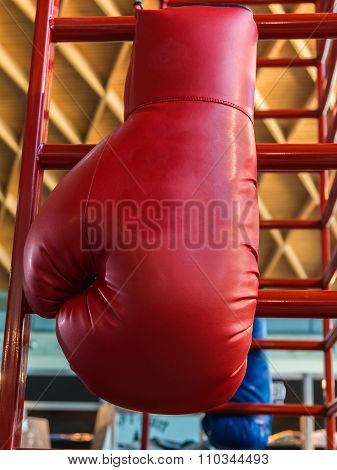 Red Leather Hanging Boxing Gloves