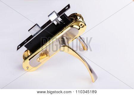 Door accessories. door lock, door handle and keys.