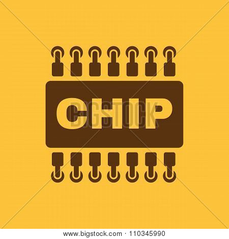 The chip icon. Microchip and microcircuit symbol. Flat