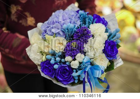 Bouquet Of White And Blue Flower