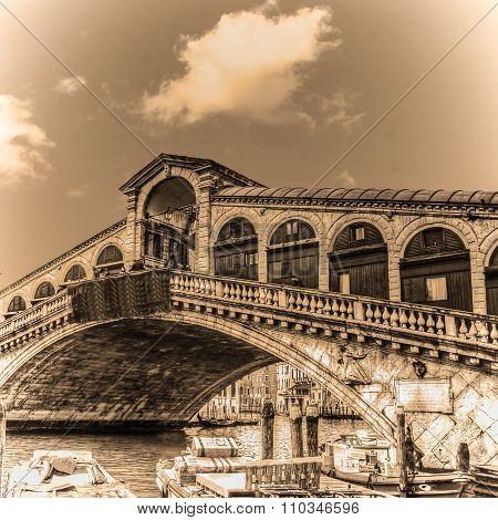 Rialto Bridge On A Clear Day In Sepia Tone