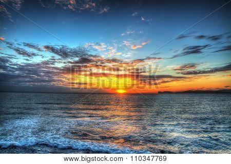 Colorful Sunset In Alghero Shoreline
