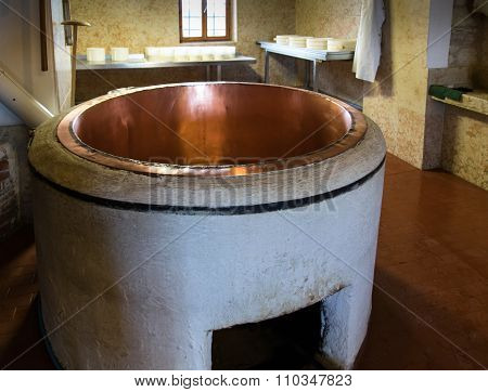 Copper Pot To Produce Cheese.