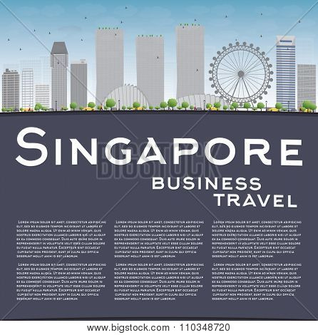 Singapore skyline with grey landmarks, blue sky and copy space. Vector illustration. Business travel and tourism concept with place for text. Image for presentation, banner, placard and web site.