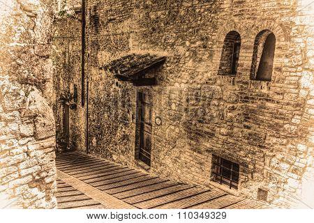 Narrow Backstreet In San Gimignano