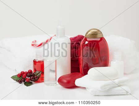 Shampoo, Soap Bar And Liquid. Toiletries, Spa Kit, Towels