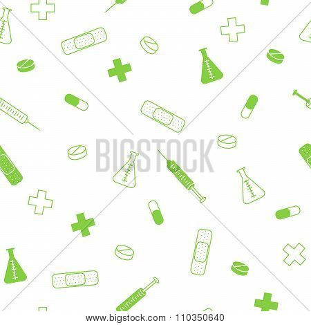 Abstract background health medicine tablet patch syringe seamless pattern green vector