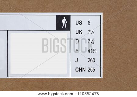 shoes international size on shoes box