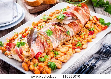 Codfish Baked In A Jamon With Beans