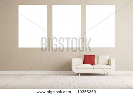 Triptych canvas on wall over a sofa (3D Rendering)