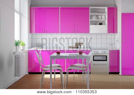 Small kitchen with clean pink kitchenette and table with chairs (3D Rendering)
