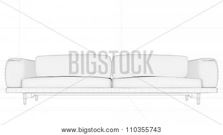 CAD wireframe mesh model of a sofa in front of wall (3D Rendering)