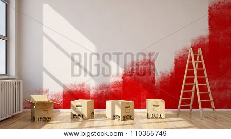Renovation of room with red color on a wall (3D Rendering)