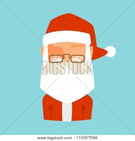 Santa Claus flat icon vector illustration. Santa Claus cartoot old man red hat and silhouette. Santa Claus traditional costume. Santa Claus icon avatar face. Santa Claus face, faceicon. Christmas