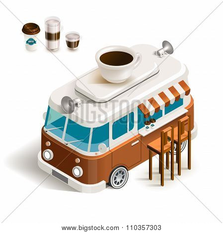 Van with coffee