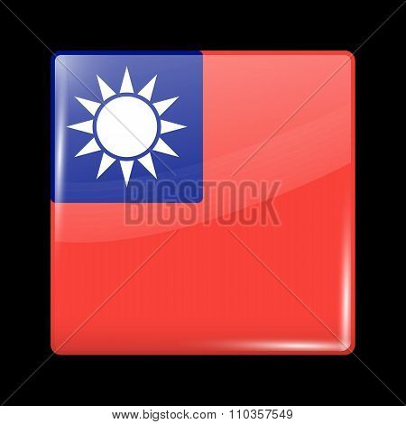 Flag Of Taiwan Republic Of China. Glassy Icon Square Shape